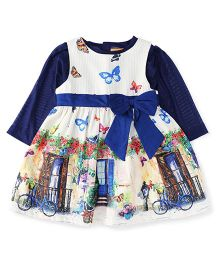 Yellow Duck Winter Frock With Full Sleeves Inner Tee - Blue & White