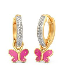 BlueStone 18kt Yellow Gold Pretty Butterfly Detachable Earrings - Golden Silver And Pink