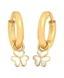 BlueStone 18kt Yellow Gold White Floral Detachable Earrings - Golden And White