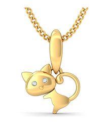 BlueStone 14kt Yellow Gold and Diamond Cute Meow Pendant - Yellow