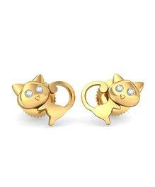 BlueStone 18kt Yellow Gold And Diamond Cute Meow Earrings - Golden