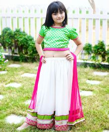 Dress My Angel Elegant Lehenga Choli Set - Green & White