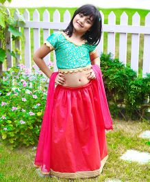 Dress My Angel Brocade And Chanderi Lehenga Set - Blue & Pink
