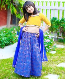 Dress My Angel Brocade & Silk Lehenga Choli Set - Blue & Yellow