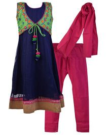 Bunchi Sleeveless Anarkali Kurti And Churidar With Jacket And Dupatta With Embroidered Jacket - Navy Green Pink