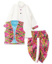 Bunchi Full Sleeves Kurta And Dhoti With Jacket - Pink White