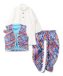 Bunchi Full Sleeves Kurta And Dhoti With Jacket - Blue White