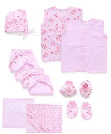 Babyhug Multi Pieces Starter Set Of 12 Pieces - Pink