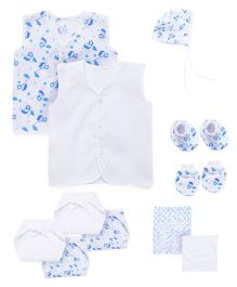 Babyhug Starter 12 Pieces Pack - Blue White