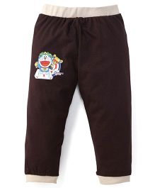 Red Ring Doraemon Print Track Pant - Coffee Brown