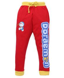 Red Ring Track Pant Doraemon Print - Yellow And Red