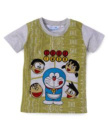 Doraemon Half Sleeves Printed T-Shirt - Light Green