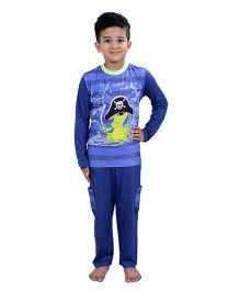 Kanvin Full Sleeves Night Suit Pirates Print - Navy Blue