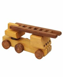 Desi Karigar Wooden Toy Fire Brigade Truck - Brown