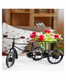 Desi Karigar Metal & Wood Rickshaw Flower Holder - Black