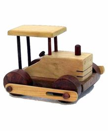 Desi Karigar Wooden Toy Road Roller - Brown Yellow