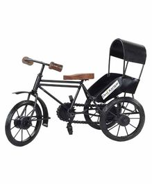 Desi Karigar Metal & Wood Rickshaw Showpiece - Black & Brown