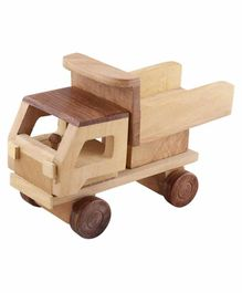 Desi Karigar Wooden Toy Dumper Truck - Brown Yellow
