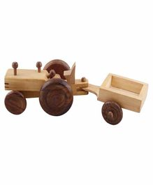 Desi Karigar Wooden Toy Tractor With Trolley - Brown Yellow