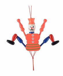 Desi Karigar Wooden Hanging Joker Toy - Orange
