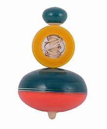 Desi Karigar Wooden Wind Top Set Of 4 - Multi Color