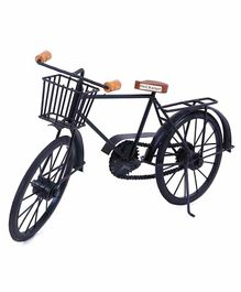 Desi Karigar Wood And Wrought Iron Cycle - Black And Brown