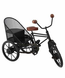 Desi Karigar Miniature Metal & Wood Cycle Rickshaw - Black & Brown