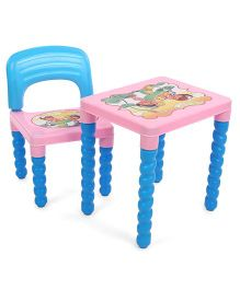 Lovely Table And Chair Set - Pink Blue