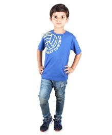 Anthill Half Sleeves T-Shirt Soccer Print - Royal Blue