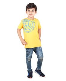Anthill Half Sleeves T-Shirt Soccer Print - Yellow