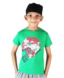 Anthill Half Sleeves T-Shirt Football Helmet Print - Green