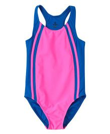 Anthill Sleeveless Swimsuit One Piece - Pink Blue