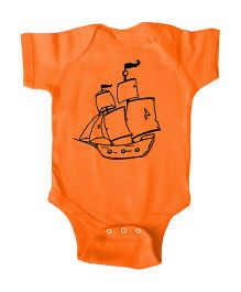 Anthill Half Sleeves Onesie Printed - Orange