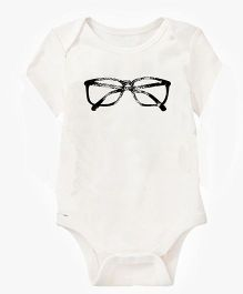 Anthill Half Sleeves Onesie Eyeglasses Print - White