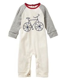 Anthill Raglan Sleeves Romper Bicycle Print - White Grey