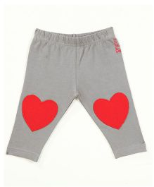 Anthill Full Length Leggings With Heart Patch - Grey