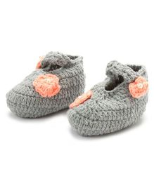 Funkrafts Crochet Booties With Flower - Grey