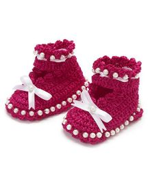 Funkrafts Crochet Pearl Sandals - Pink