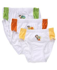 Mr Bean Printed Briefs Set Of 3 - White Green Yellow Orange