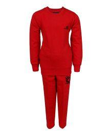 Haig-Dot Full Sleeves Fleece Track Suit - Red