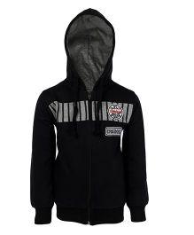 Haig-Dot Full Sleeves Printed Hooded Jacket - Black