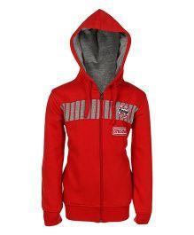 Haig-Dot Full Sleeves Printed Hooded Jacket - Red