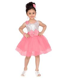 Aarika Sequined Yoke With Flower Applique Party Wear Dress - Pink