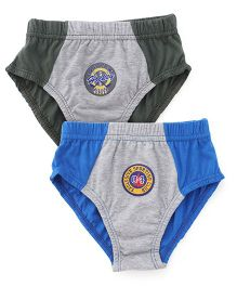 Cucumber Dual Shaded Set Of 2 Briefs - Royal Blue Grey Olive Green