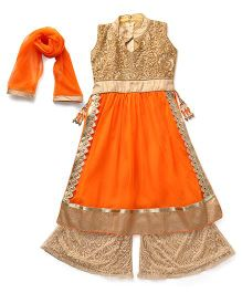 Aarika Girl'S Self Design Premium Net Palazzo Suit Set - Orange