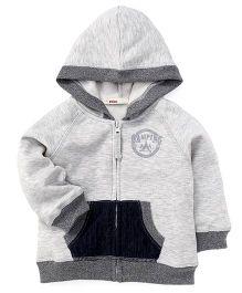 Fox Baby Full Sleeves Sweat Jacket Camping Print - Grey