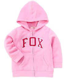 Fox Baby Full Sleeves Sweat Jacket Fox Patch - Pink