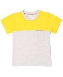 Brown Boy Mini Organic Cotton Two Part Tee - Yellow & Grey