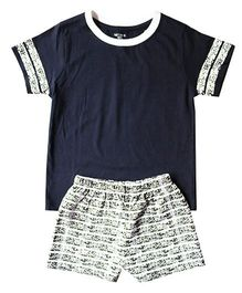 Brown Boy Mini Organic Cotton Split Tee & Shorts Set - Blue & Grey