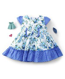 Enfance Classy Flower Prints With A Bow - Light Blue